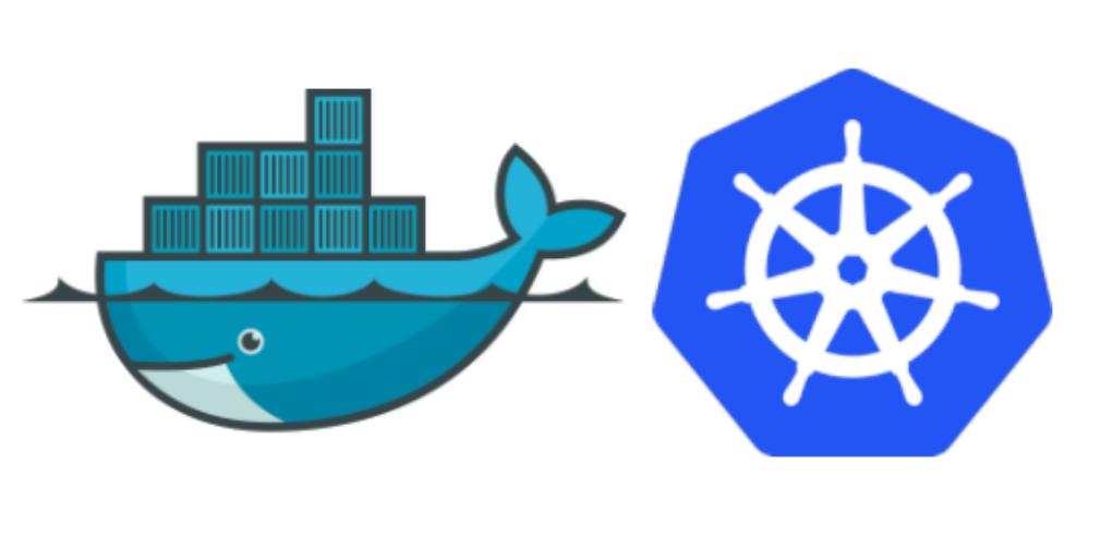 The docker and kubernetes logos