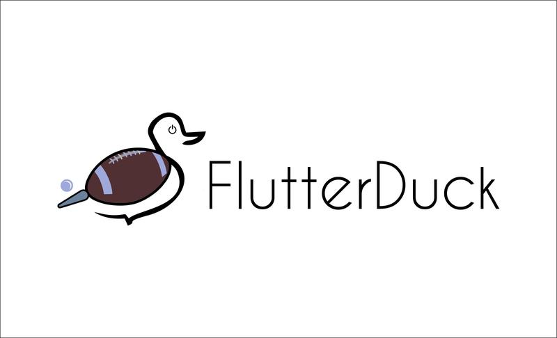 A duck with a football for a wing, a pinball flipper for a tail, and a power button for an eye - the FlutterDuck logo.